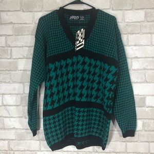 Sweaters - Slouchy Tunic Oversized houndstooth Knitt Sweater